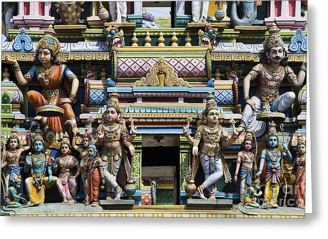 Sculpture Indians Greeting Cards - Hindu Temple Gopuram Statues Greeting Card by Tim Gainey