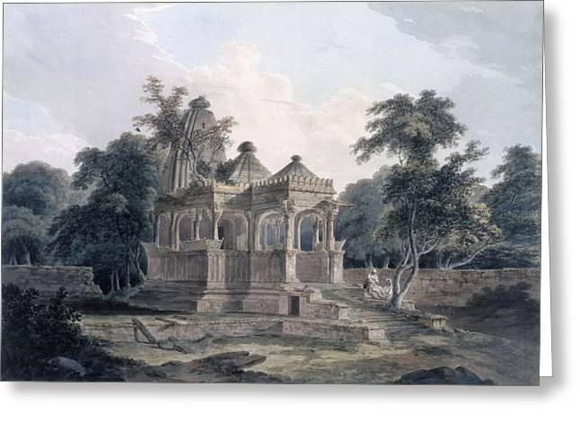Structure Drawings Greeting Cards - Hindu Temple In The Fort Of The Rohtas Greeting Card by Thomas & William Daniell