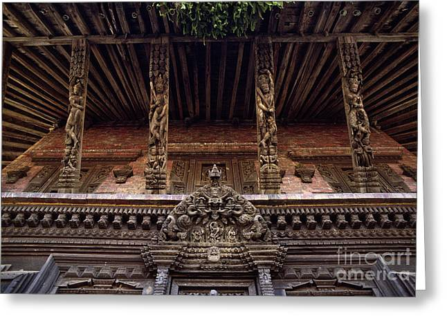 Strut Photographs Greeting Cards - Hindu Temple Panote Nepal Greeting Card by Craig Lovell