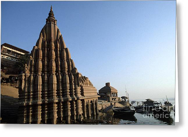 The Ganges Greeting Cards - Hindu Temple Sinking in the Ganges Greeting Card by Craig Lovell