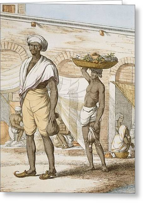 G Greeting Cards - Hindu Valet Or Buyer Of Food, From The Greeting Card by Franz Balthazar Solvyns