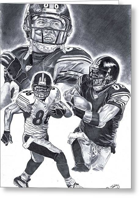 Steelers Drawings Greeting Cards - Hines Ward Greeting Card by Jonathan Tooley