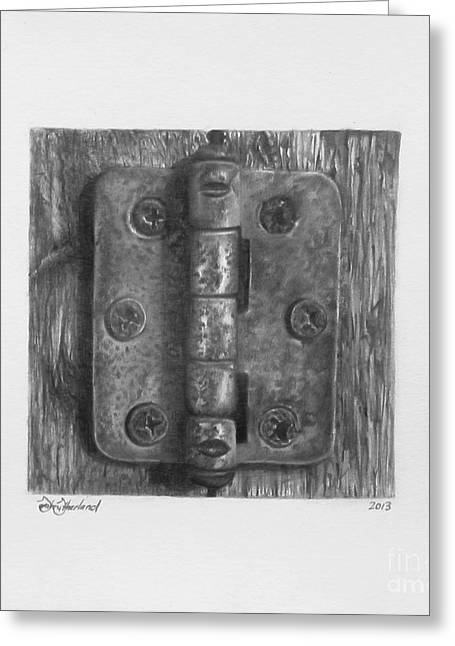 Entrance Door Drawings Greeting Cards - Hinge Temporality  Greeting Card by Sarah Sutherland