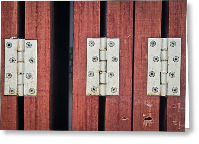 Screen Doors Greeting Cards - Hinges Greeting Card by Tom Gowanlock