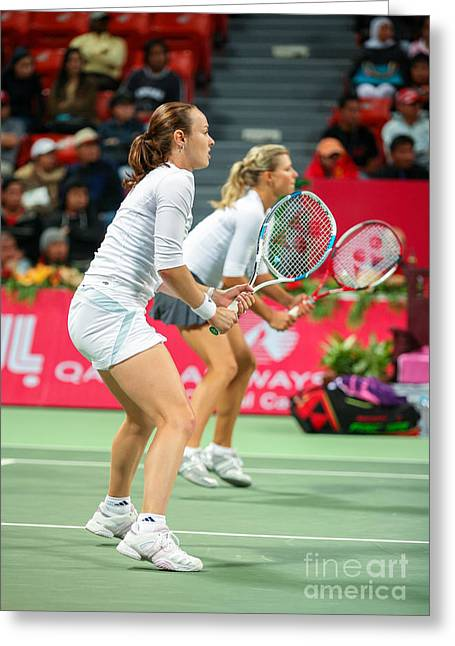 Tennis Champion Greeting Cards - Hingis and Kirilenko in Doha Greeting Card by Paul Cowan
