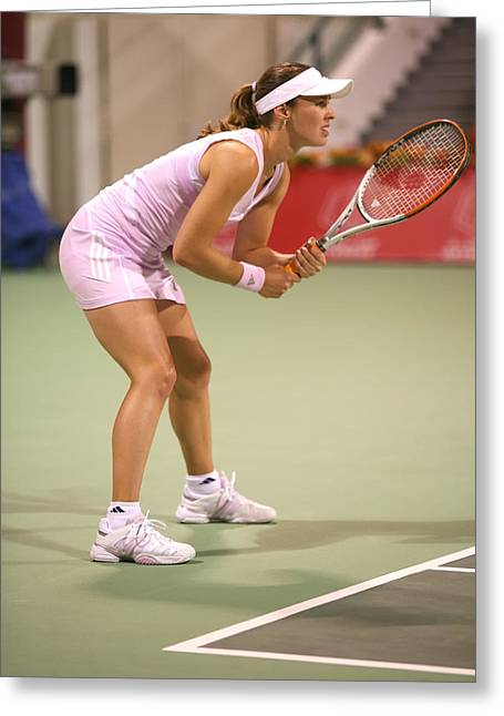 Wta Greeting Cards - Hingis in Doha Greeting Card by Paul Cowan