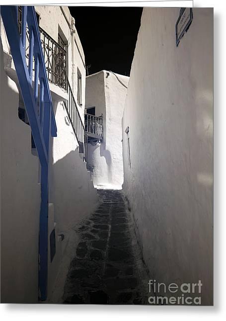 Ir Photography Greeting Cards - Hint of Blue in Mykonos infrared Greeting Card by John Rizzuto