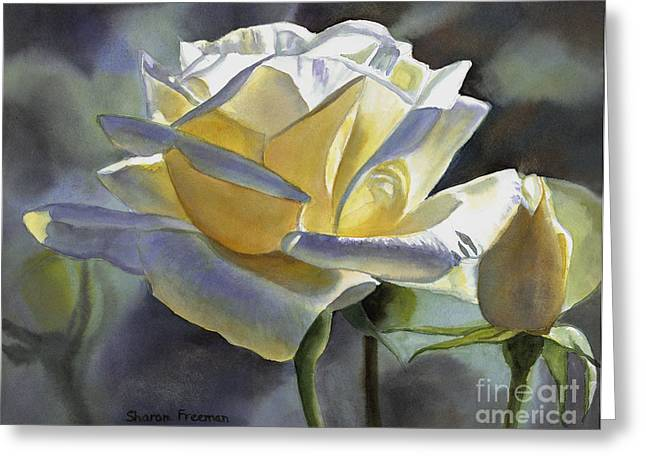 White Gold Greeting Cards - Hint of Gold Greeting Card by Sharon Freeman