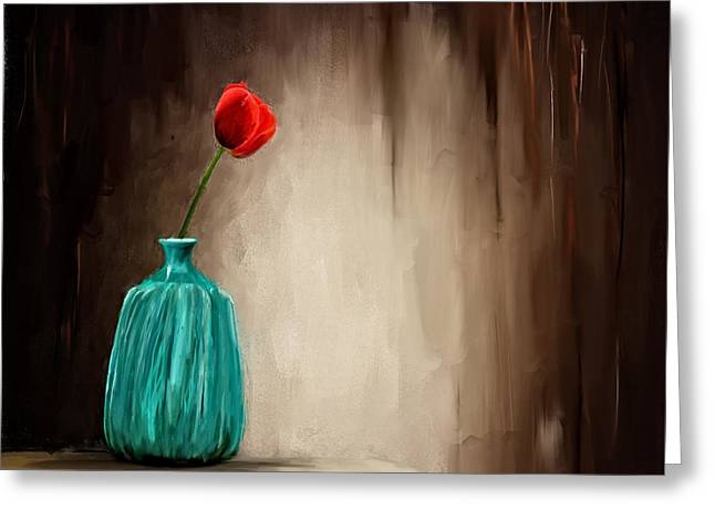 Red Art Greeting Cards - Hint Of Passion Greeting Card by Lourry Legarde