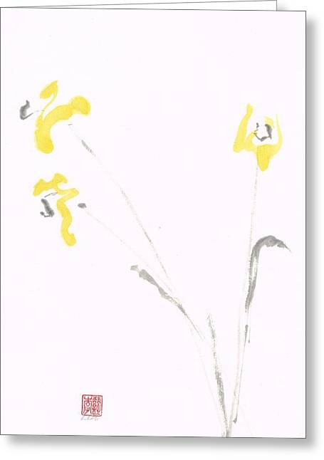Sumie Greeting Cards - Hint of Yellow Greeting Card by Lilith Ohan