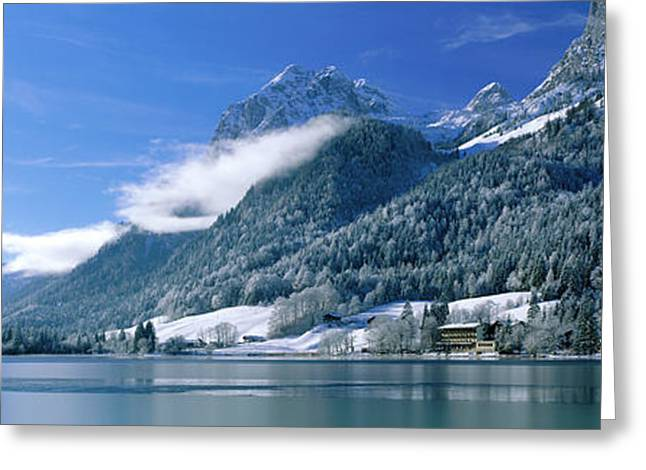 Snow Capped Greeting Cards - Hinter See Bavaria Germany Greeting Card by Panoramic Images