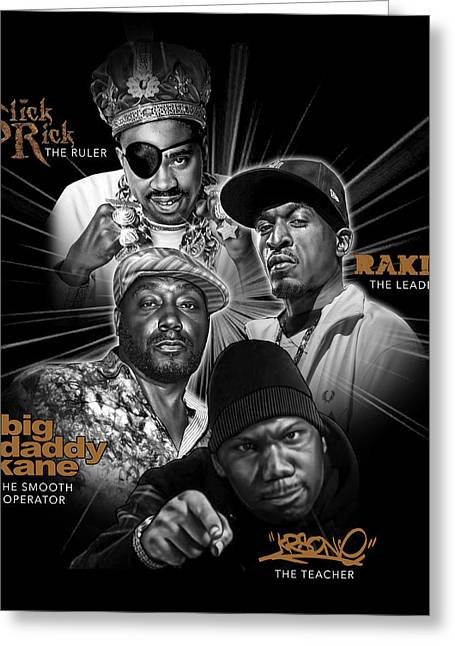 Rakim Greeting Cards - Hip Hop Legend Montage Greeting Card by Justo Terez Jr