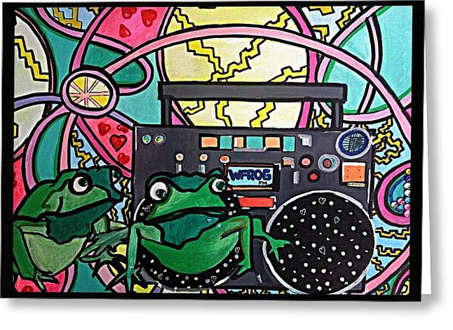 Hip Hoppin Frogs Greeting Card by M Gonzolo