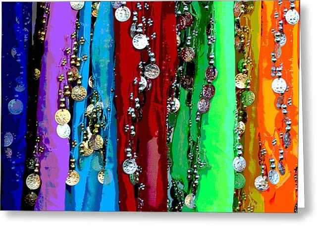 Hip Belt Greeting Cards - Hip Scarf Heaven Greeting Card by April Wietrecki Green