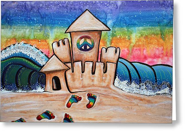 Ocean Shore Mixed Media Greeting Cards - Hippie Sand Castle Greeting Card by Laura Barbosa