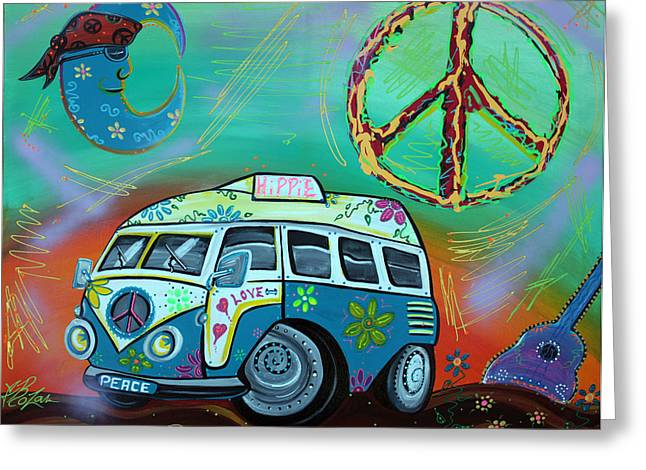 Caricature Mixed Media Greeting Cards - Hippie Trip Greeting Card by Laura Barbosa