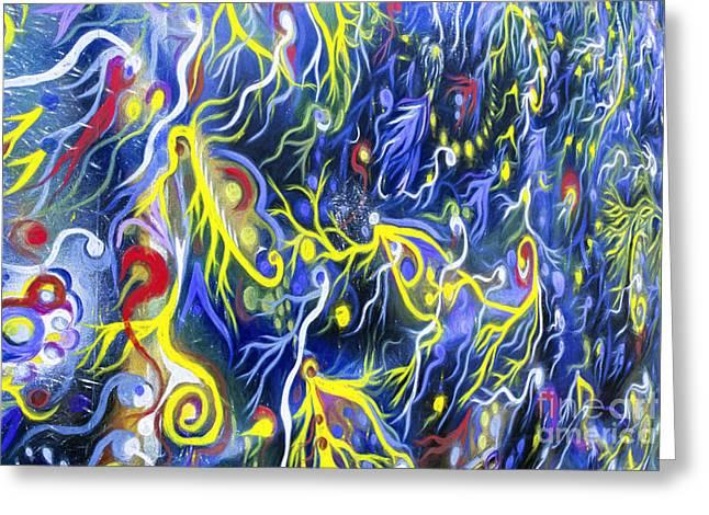 Psychedelic Van Greeting Cards - Painted Hippie Van detail Greeting Card by Michael Wheatley
