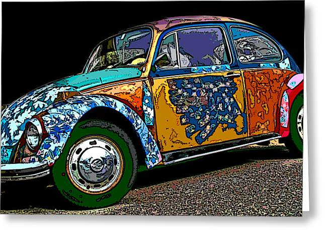 Samuel Sheats Greeting Cards - Hippie VW Bug Greeting Card by Samuel Sheats