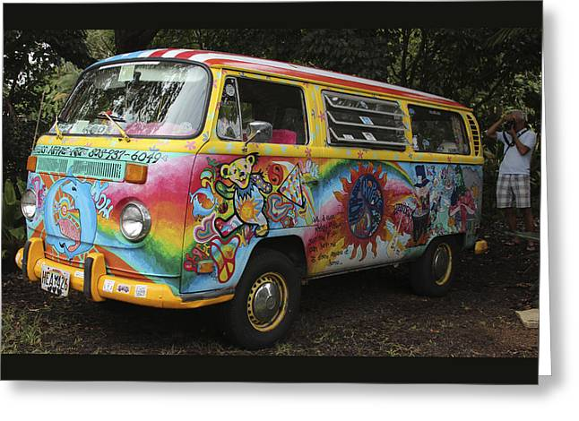Decorate Greeting Cards - Vintage 1960s VW Hippie Bus Greeting Card by Venetia Featherstone-Witty