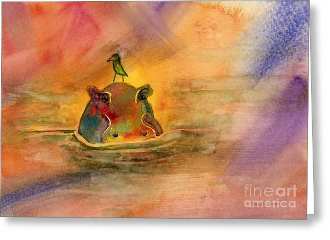 Dunking Paintings Greeting Cards - Hippo Birdie Greeting Card by Amy Kirkpatrick