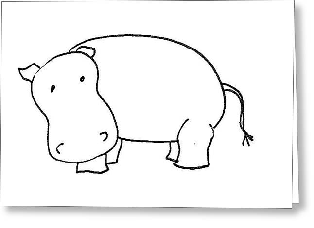 Cherie Sexsmith Greeting Cards - Hippo Greeting Card by Cherie Sexsmith