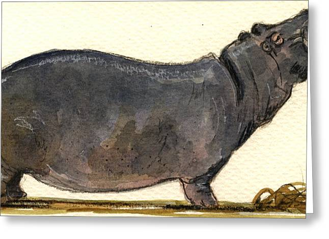 Wildlife Watercolor Greeting Cards - Hippo happy Greeting Card by Juan  Bosco