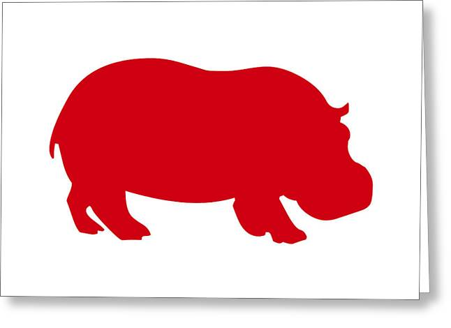 Hippopotamus Digital Art Greeting Cards - Hippo in Red and White Greeting Card by Jackie Farnsworth