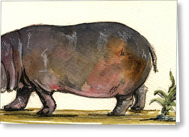 Wildlife Watercolor Greeting Cards - Hippo Greeting Card by Juan  Bosco