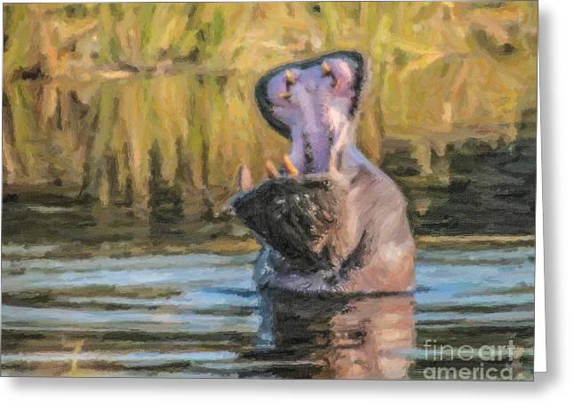 Wild Animal Greeting Cards - Hippo threat Greeting Card by Liz Leyden