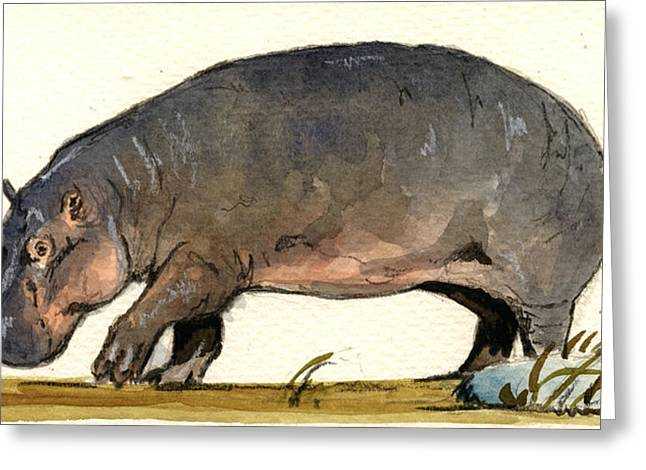 Wildlife Watercolor Greeting Cards - Hippo walk Greeting Card by Juan  Bosco