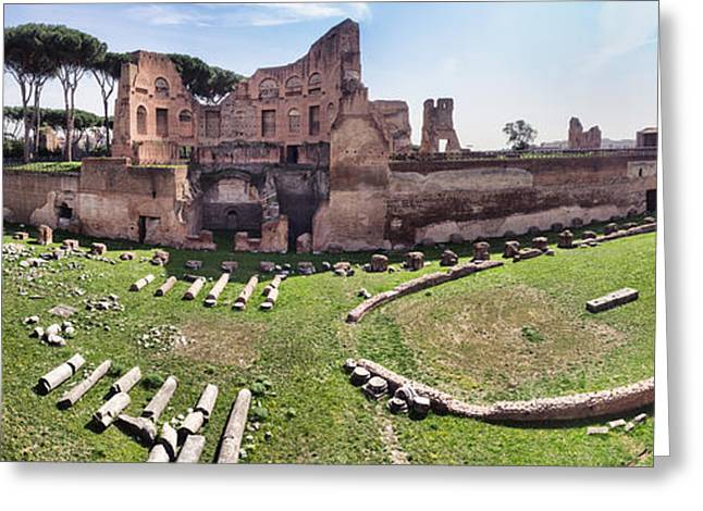 Domitian Greeting Cards - Hippodrome Stadium of Domitia Palatine Hill Rome Greeting Card by Frank Bach