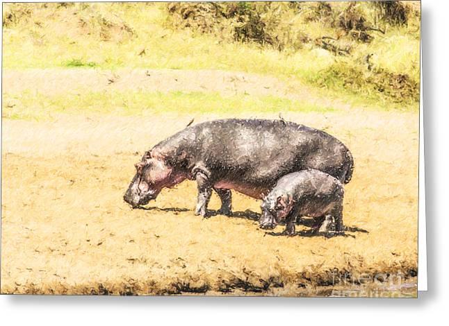 Africa Greeting Cards - Hippopotamus and baby Mara River Kenya Greeting Card by Liz Leyden