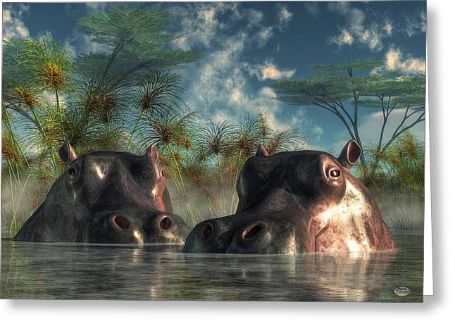 Hippopotamus Digital Greeting Cards - Hippos Are Coming To Get You Greeting Card by Daniel Eskridge