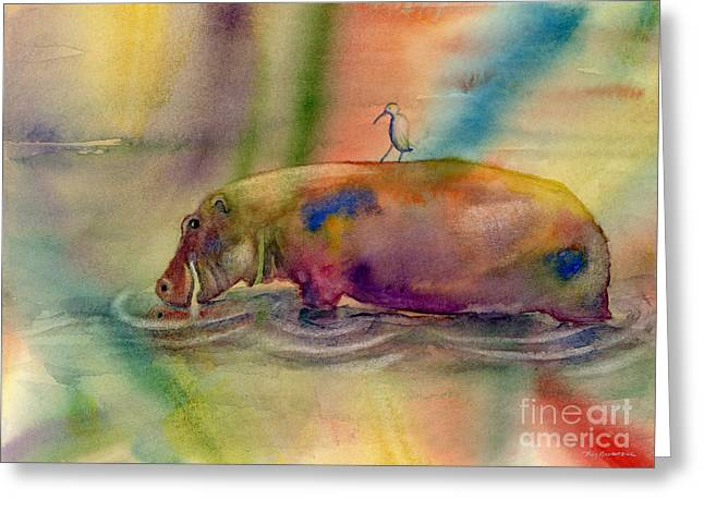 Hippopotamus Greeting Cards - Hippy Dippy Greeting Card by Amy Kirkpatrick
