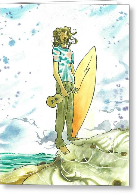 Surfer Art Greeting Cards - Hippy Surf Greeting Card by Harry Holiday