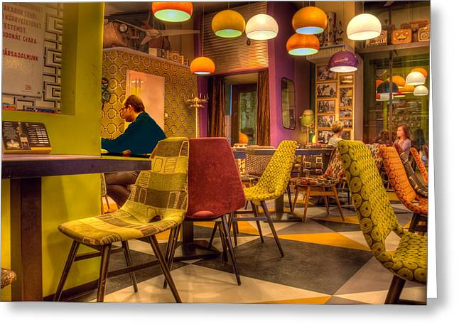 Sitting In Chair Greeting Cards - Hipster Cafe Greeting Card by Matthew Bamberg