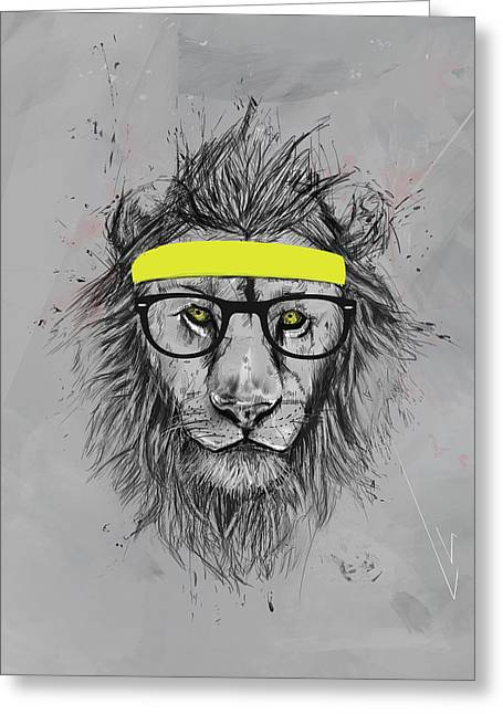 Lions Greeting Cards - Hipster lion Greeting Card by Balazs Solti
