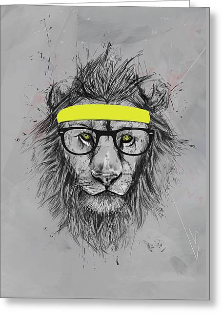 Hipster Lion Greeting Card by Balazs Solti
