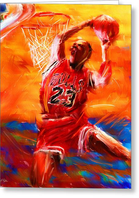 Basketballs Greeting Cards - His Airness Greeting Card by Lourry Legarde
