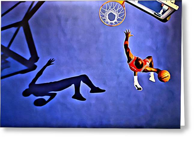 Recently Sold -  - Dunk Greeting Cards - His Airness Michael Jordan Greeting Card by Florian Rodarte