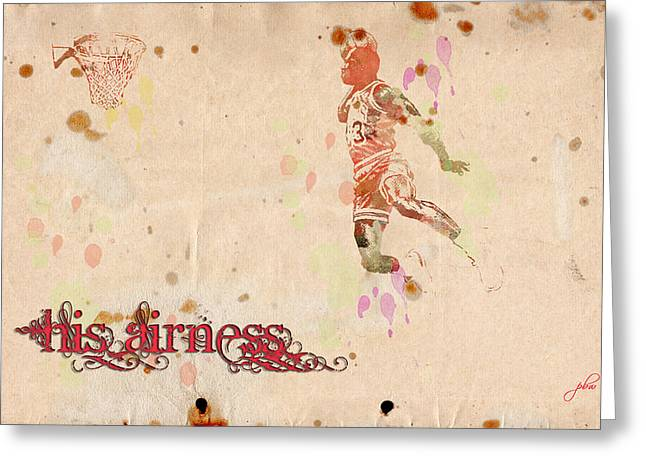 Airness Greeting Cards - His Airness - Michael Jordan Greeting Card by Paulette B Wright