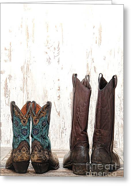 Cowgirl Boots Greeting Cards - His and Hers Greeting Card by Olivier Le Queinec