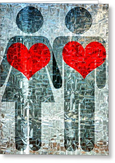 Sharing Mixed Media Greeting Cards - His and Hers Strength Of Heart Greeting Card by Angelina Vick