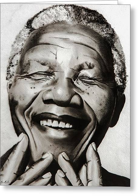 His Excellency Nelson Mandela Greeting Card by Brian Broadway