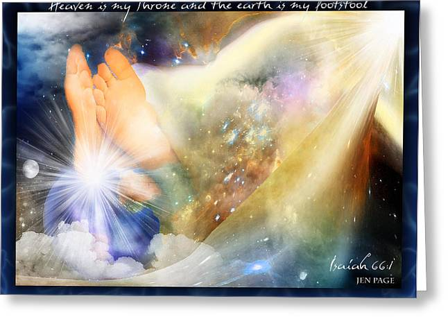 Abba Father Greeting Cards - His Footstool Greeting Card by Jennifer Page