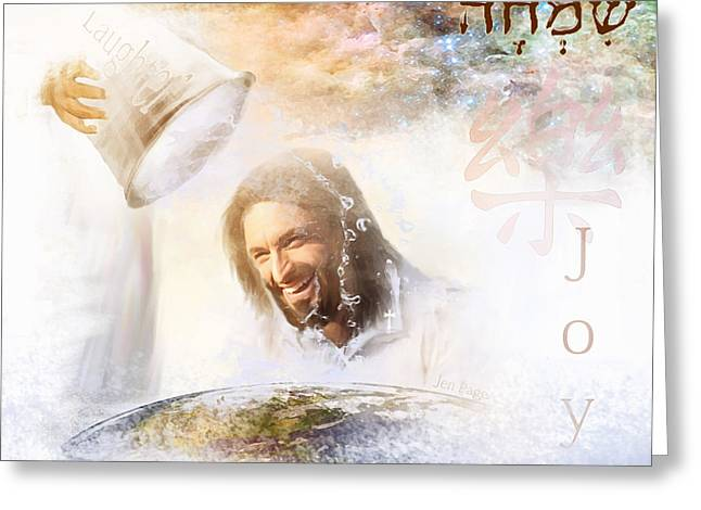 Laughing Jesus Greeting Cards - His Joy Greeting Card by Jennifer Page