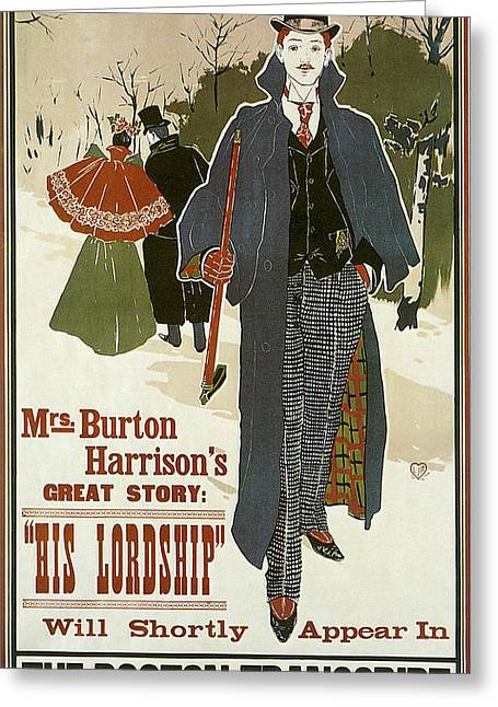 Playbill Greeting Cards - His Lordship1896 Greeting Card by Louis John Rhead