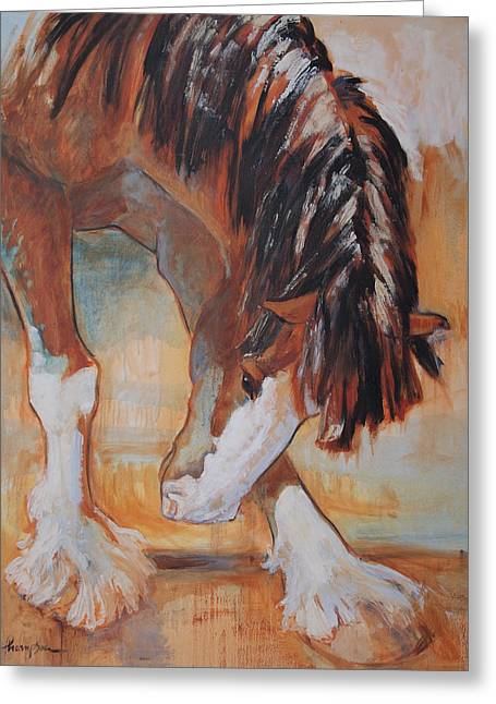 Draft Horse Greeting Cards - His Majestys Nose Itches Greeting Card by Tracie Thompson