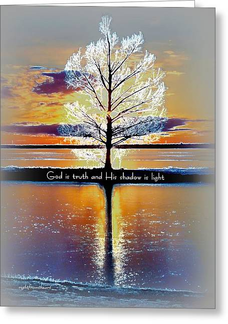 Scripture Digital Art Greeting Cards - His Shadow is Light Greeting Card by Bob and Kathy Frank