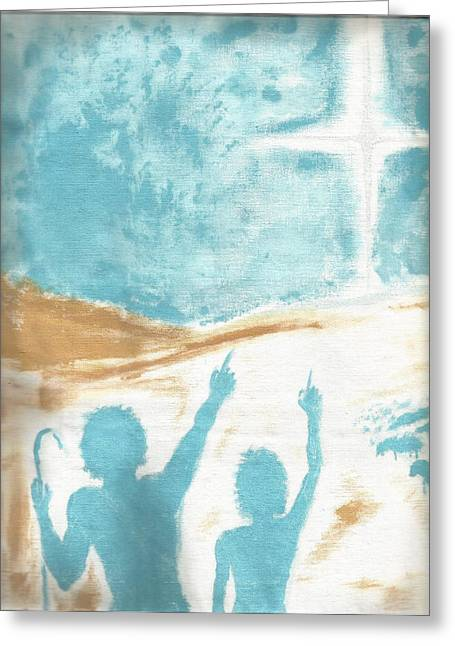 Star Of Bethlehem Paintings Greeting Cards - His Star Greeting Card by Michael Gulliver